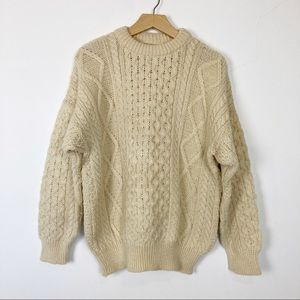 Vintage fisherman's sweater wool chunky knit beige